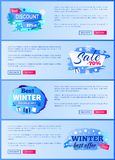Final Sale Big Winter Discount - 70 Off New Offer. 25 only today total price reduction set of labels with snowflakes snowballs vector web posters Royalty Free Stock Photography