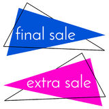 Final sale blue banner and extra sale pink banner on white background. Vector background with colorful design elements. Vector illustration Stock Images