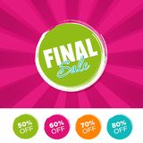 Final Sale color banner and 50%, 60%, 70% & 80% Off Marks. Vector illustration. Eps10 Vector royalty free illustration