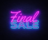 Free Final Sale Concept Banner In Fashionable Neon Style, Luminous Signboard, Nightly Advertising Of Sales Rebates. Vector Stock Photography - 127868192