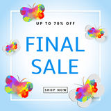 Final Sale. Creative background with butterflies. Colorful. Template for your design and text Stock Photo