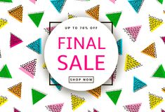 Final Sale. Creative template for poster, banner, business card. And other designs. Triangles background. Vector illustration Royalty Free Stock Photo