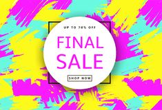 Final Sale. Creative template for poster, banner, business card. And other designs. Brush strokes colorful background. Vector illustration Stock Photography