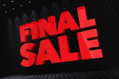 Final Sale 3D Lettering. On the Modern Carbon Wall Illuminated by Spot Lights Royalty Free Stock Photos