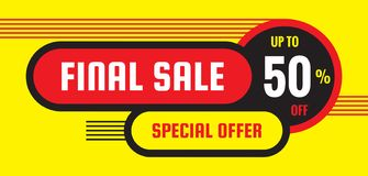 Final sale discount up to 50% off - concept horizontal banner vector illustration. Special offer abstract layout. Graphic design. Poster royalty free illustration