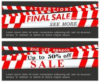 Final sale and end of the season banner. Vector illustration. Vector images of red warning ribbons with inscriptions about the final and seasonal sales on a Royalty Free Stock Photo