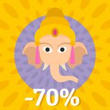 Final sale Ganesh Chaturthi background, flat style. Final sale Ganesh Chaturthi background. Flat illustration of final sale Ganesh Chaturthi vector background Stock Photo