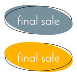 Final sale gray and yellow banner on white background.   Royalty Free Stock Images