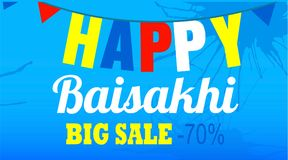 Final sale happy baisakhi concept banner, cartoon style. Final sale happy baisakhi concept banner. Cartoon illustration of final sale happy baisakhi vector Stock Photography