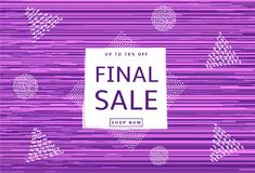 Final sale poster. Abstract purple background and geometric whit. E figures. Vector illustration Royalty Free Stock Photography
