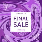 Final sale poster. Abstract purple background and geometric whit. E figures. Vector illustration Royalty Free Stock Image