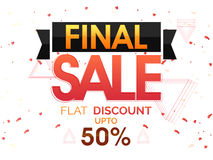 Final Sale Poster, Banner or Flyer design. Final Sale with Flat 50% Discount Offer, Creative Poster, Banner or Flyer design, Vector illustration Royalty Free Stock Photo