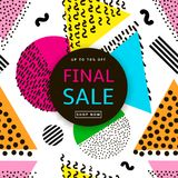 Final sale poster. Colorful geometric background. 80s - 90s year. S style. Vector illustration Stock Photo