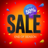 Final sale poster or flyer design. End of season sale on red background Royalty Free Stock Image