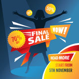 Final sale poster with girl silhouette. Vector illustration Royalty Free Stock Photography