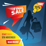 Final sale poster with girl silhouette. Vector illustration Stock Image