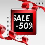 Final sale poster 50% luxury banner red golden tapel, Vector Illustration royalty free stock image