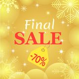 Final sale poster. Vector design. Gold transparent snowflakes and balls. Seasonal sale banner. Christmas an New Year 70. Discount card. Business flyer stock illustration