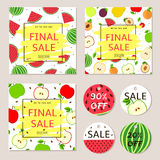 Final sale posters, banners, label  - fruits. Final sale posters, banners, label - colorful  set with fruits Royalty Free Stock Photography