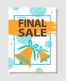 Final Sale Promo Poster with Two Golden Bells. On blue ribbons and brush strokes vector illustration poster total discounts concept with dots on background Royalty Free Stock Image