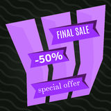 Final sale purple bannes on black background.  Vector background with colorful design elements. Vector illustration Royalty Free Stock Photography