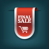 Final sale red ribbon vector tag icon for product promotion and shopping. Bookmark 3d design with realistic shadows. Stock Photos