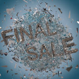 Final sale silver explosion background. Blue discount graphic creative concept Royalty Free Stock Photography
