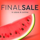 Final sale social media template for online store, watermelon slice background, vector illustration. Stock Images