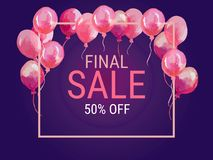 Final sale, special offer with pink balloons. Realistic vector design for a shop and sale banners Royalty Free Stock Images