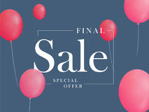 Final sale, special offer with pink balloons. Realistic vector design for a shop  Stock Photography