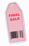 Final sale tag. With barcode isolated on white Royalty Free Stock Photos