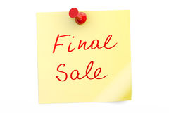 Final Sale text on a sticky note. 3D rendering Royalty Free Stock Photography
