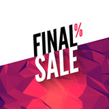 Final sale vector banner background. Promotional marketing poster. Final sale background for market shop store Royalty Free Stock Photos