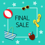 Final sale Vector illustration. Trendy design template for the online store, shop, poster and banner The inscription Final sale in white frame with icons of Royalty Free Stock Images