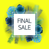 Final sale Vector illustration. Trendy template for the online store, shop, poster and banner Blue and green palm leaves on yellow background and white frame Royalty Free Stock Photos