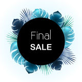 Final sale Vector illustration. Trendy template for the online store, shop, poster and banner Blue palm leaves on white background and black circle wich the Royalty Free Stock Image