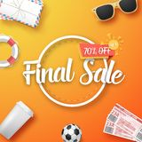 Final Sale Vector Poster. Illustration of Final Sale Vector Poster. Bright Sale Flyer Template with Travel Icons Royalty Free Stock Images