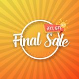 Final Sale Vector Poster. Illustration of Final Sale Vector Poster with Sunburs Lines on Background. Bright Sale Flyer Template Royalty Free Stock Images