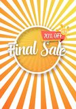 Final Sale Vector Poster with Sunburs Lines on Background. Bright Sale Flyer Template. Illustration of Final Sale Vector Poster with Sunburs Lines on Background Royalty Free Stock Photography