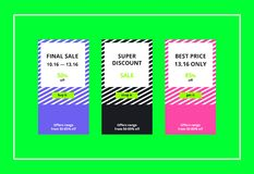 Final Sale Web Banners Set. Vector final sales banners for website and mobile design, email, newsletter, ads and promotion. Web catch eye template super bright Stock Photos
