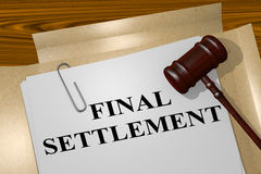 Final Settlement - legal concept. 3D illustration of FINAL SETTLEMENT title on legal document Stock Photo