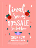 Final spring 50% sale limited time banner for advertisement.vect. Final spring 50% sale limited time banner for advertisement Stock Images