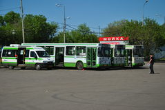 The final stop and buses. Stock Photo