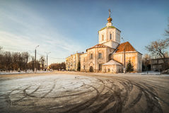 The final stop is at the Temple. The final stop is at the church in a winter city Stock Photography