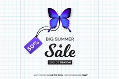 Final Summer Sale. Blue Butterfly With Sale Tag Over Notebook Sheet. Modern Conceptual Vector Illustration.  Royalty Free Stock Image