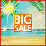 Final summer sale design template with beach. Stock Photos