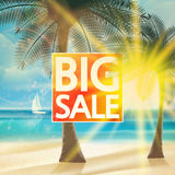Final summer sale design template with beach. Royalty Free Stock Image
