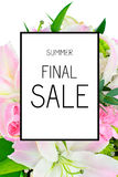 Final Summer Sale Poster Background. Final Summer Sale Poster flower Background Illustration Royalty Free Stock Photography