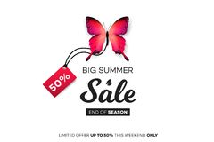 Final Summer Sale. Red Butterfly With Sale Tag On White Background. Modern Conceptual Vector Illustration.  Stock Photo