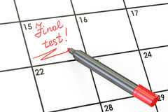 Final Test date on calendar concept, 3D rendering. Final Test date on calendar concept Royalty Free Stock Image